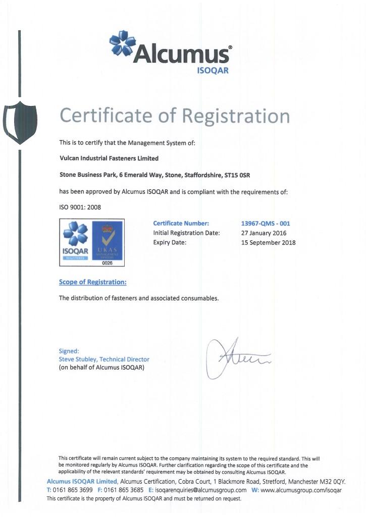Vulcan Fasteners ISO Registration 13967.