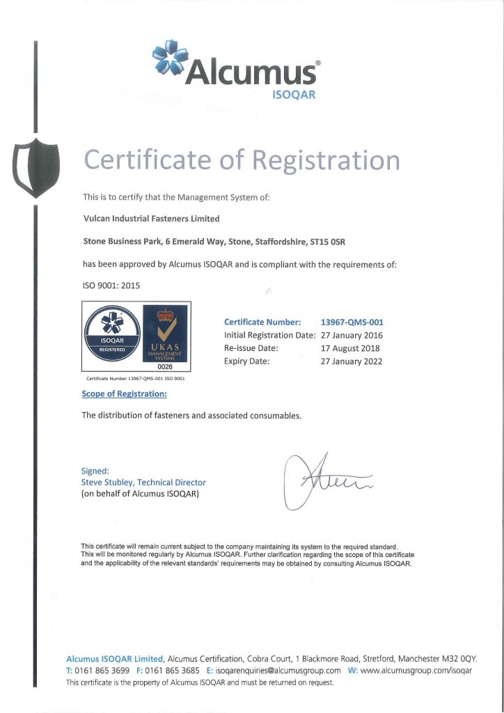 Vulcan Fasteners ISO Registration 13967-QMS-001