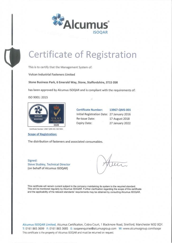 Vulcan Fasteners ISO Registration 13967-QMS-001